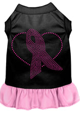Load image into Gallery viewer, Pink Ribbon Rhinestone Dress Black