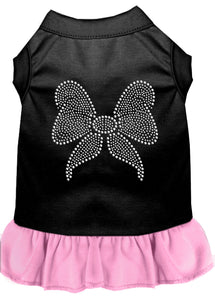 Rhinestone Bow Dresses Black With Light Pink