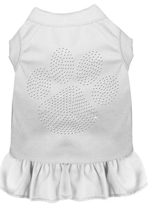 Rhinestone Clear Paw Dress White