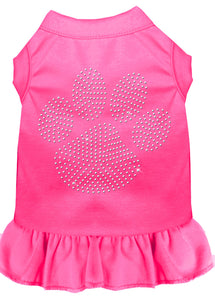 Rhinestone Clear Paw Dress Bright Pink