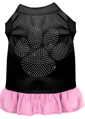 Rhinestone Clear Paw Dress Black With Light Pink