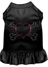 Load image into Gallery viewer, Rhinestone Heart And Crossbones Dress Black