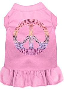 Rhinestone Rainbow Peace Dress Light Pink