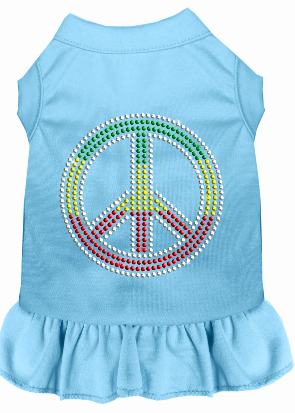 Rhinestone Rasta Peace Dress Baby Blue