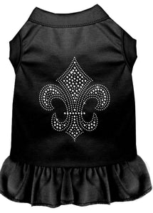 Silver Fleur De Lis Rhinestone Dress Black