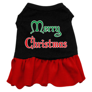 Merry Christmas Screen Print Dress Black With