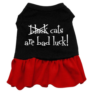 Black Cats Are Bad Luck Screen Print Dress Black With