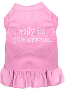 I Really Did Eat The Homework Screen Print Dress Light Pink