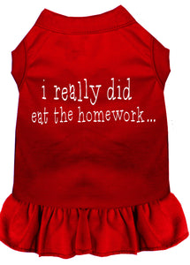 I Really Did Eat The Homework Screen Print Dress Red