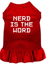 Load image into Gallery viewer, Nerd Is The Word Screen Print Dress Red