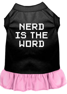 Nerd Is The Word Screen Print Dress Black