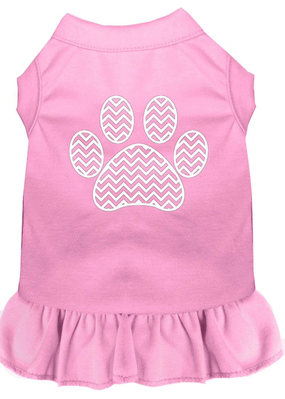 Chevron Paw Screen Print Dress Light Pink