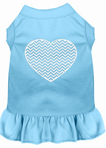 Chevron Heart Screen Print Dress Baby Blue