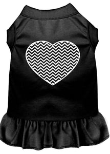 Chevron Heart Screen Print Dress Black