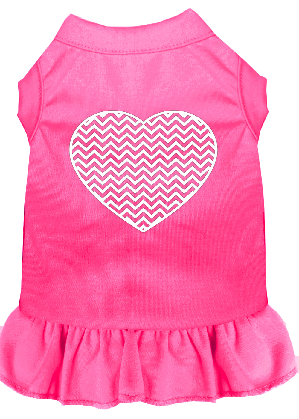 Chevron Heart Screen Print Dress Bright Pink