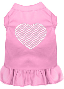 Chevron Heart Screen Print Dress Light Pink