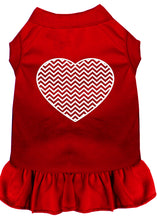 Load image into Gallery viewer, Chevron Heart Screen Print Dress Red