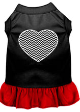 Load image into Gallery viewer, Chevron Heart Screen Print Dress Black