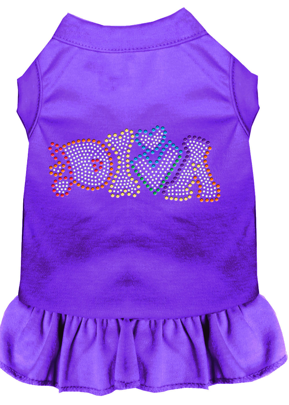 Technicolor Diva Rhinestone Pet Dress Purple