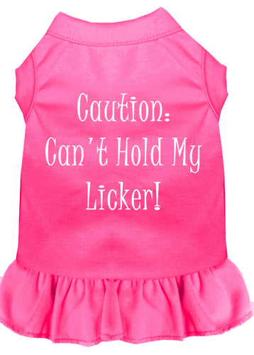 Can't Hold My Licker Screen Print Dress Bright Pink