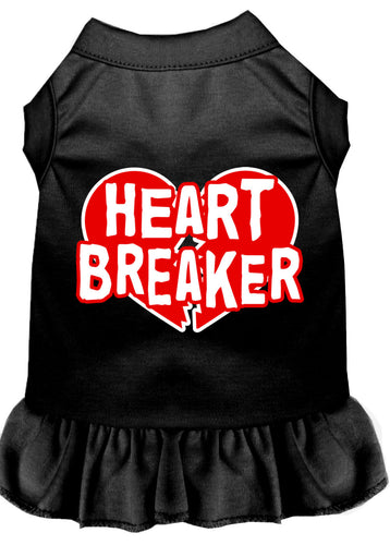 Heart Breaker Screen Print Dress Black