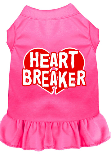 Heart Breaker Screen Print Dress Bright Pink