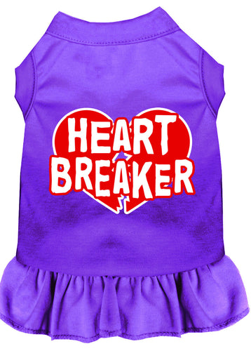 Heart Breaker Screen Print Dress Purple