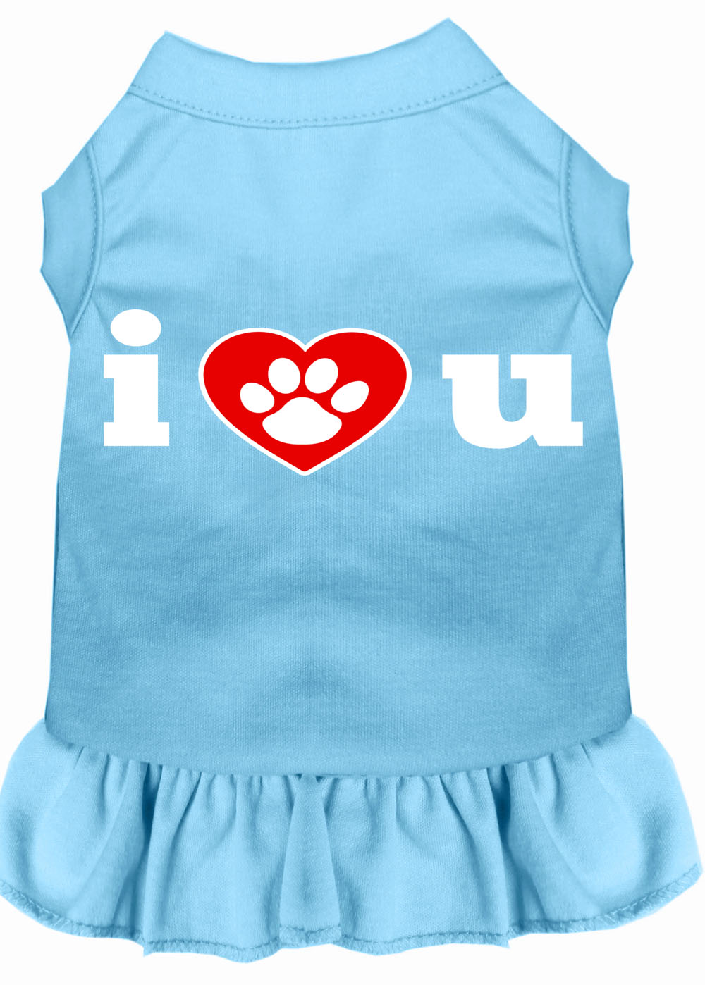 I Heart You Screen Print Dress Baby Blue