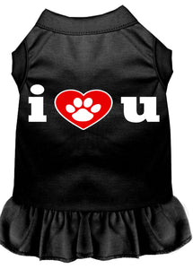 I Heart You Screen Print Dress Black