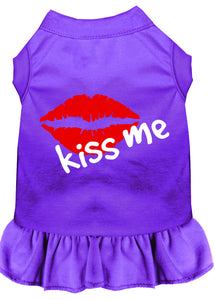 Kiss Me Screen Print Dress Purple