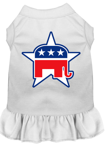 Republican Screen Print Dress White