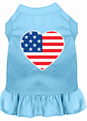 American Flag Heart Screen Print Dress Baby Blue