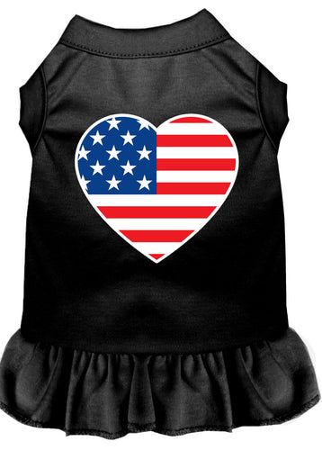American Flag Heart Screen Print Dress Black
