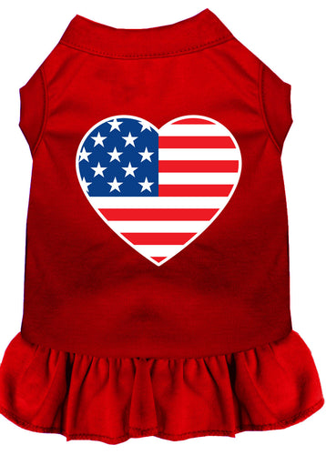American Flag Heart Screen Print Dress Red