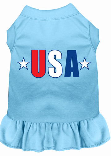 Usa Star Screen Print Dress Baby Blue
