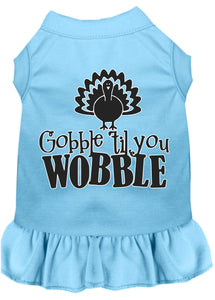 Gobble Til You Wobble Screen Print Dog Dress