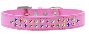 Two Row Confetti Crystal Size Dog Collar