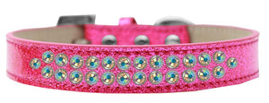 Two Row Ab Crystal Size Ice Cream Dog Collar