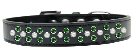 Sprinkles Dog Collar Pearl And Emerald Green Crystals Size