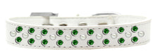 Load image into Gallery viewer, Sprinkles Dog Collar Pearl And Emerald Green Crystals Size