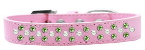 Sprinkles Dog Collar Pearl And Lime Green Crystals Size