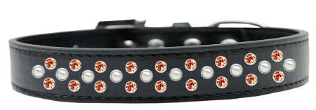 Sprinkles Dog Collar Pearl And Orange Crystals Size
