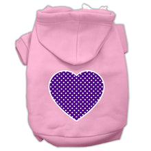 Load image into Gallery viewer, Purple Swiss Dot Heart Screen Print Pet Hoodies Size