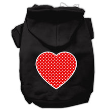 Load image into Gallery viewer, Red Swiss Dot Heart Screen Print Pet Hoodies Size