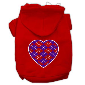 Argyle Heart Purple Screen Print Pet Hoodies Size
