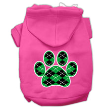 Load image into Gallery viewer, Argyle Paw Green Screen Print Pet Hoodies Size