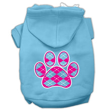 Load image into Gallery viewer, Argyle Paw Pink Screen Print Pet Hoodies Size