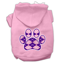Load image into Gallery viewer, Argyle Paw Purple Screen Print Pet Hoodies Size