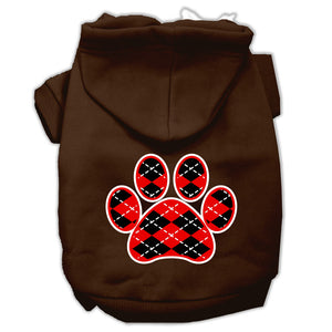 Argyle Paw Red Screen Print Pet Hoodies Size