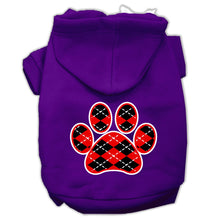 Load image into Gallery viewer, Argyle Paw Red Screen Print Pet Hoodies Size